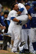 Russell Martin and gang embrace Andre Ethier.jpg