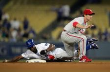 Juan Pierre gets blocked by Chase Utley at second base.jpg