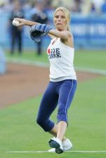 Nicole Sheridan throws out the first pitch at Dodger Stadium.jpg