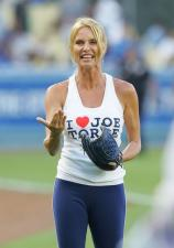 Nicolette Sheridan prepares to throw out the first pitch at Dodger Stadium.jpg