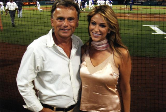 Woman Dodgers fan with Pat Sajak.jpg