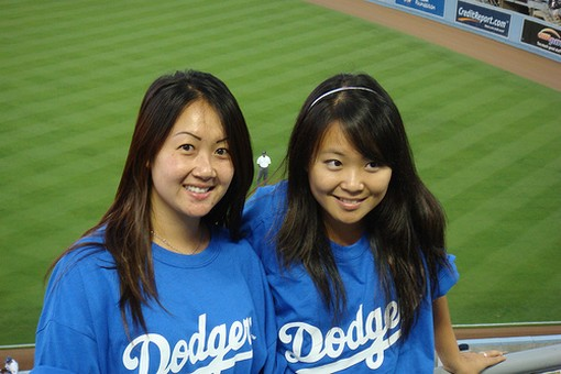 Two Asian female Dodger fans.jpg