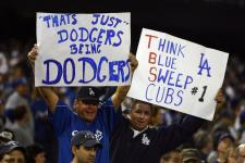 Dodger fans hold up signs in game 3 of the NLDS 2008.jpg