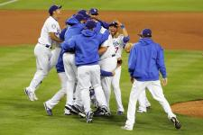 Dodger teammates mob each other after winning the 2008 NLDS.jpg