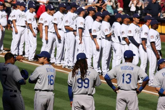 Dodger team stands on opening day 2009.jpg