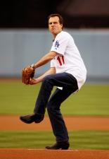Dodger fan Bill Paxton throws the first pitch.jpg
