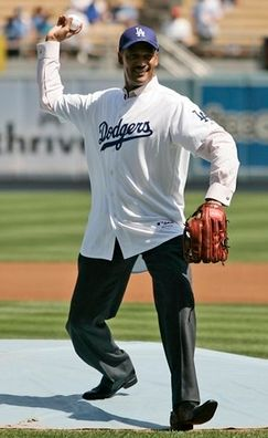 Dodger fan Felipe Payano throws out the first pitch.JPG