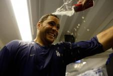 Russell Martin gets beer doused on his head.JPG