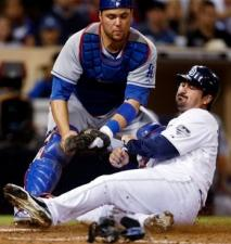 Russell Martin tags out Adrian Gonzalez at home plate.JPG