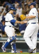 Russell Martin shakes Jonanthan Broxton's hand after the Dodgers win game 1 of the 2009 NLDS.JPG