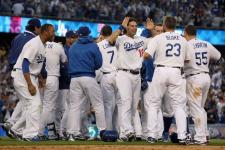 Dodgers team celebrate their incredible come from behind win in game 2 fo the 2009 NLDS.JPG