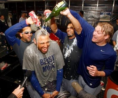 Matt Kemp gets champagne and wine dumped on him.JPG