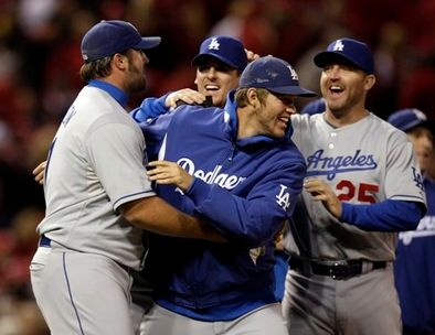Broxton Kershaw and other Dodgers celebrate winning the 2009 NLDS.JPG