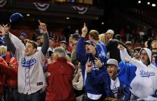 Dodger fans celebrate in St Louis.JPG