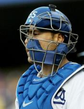 Russell Martin with his catchers mask to the side.JPG
