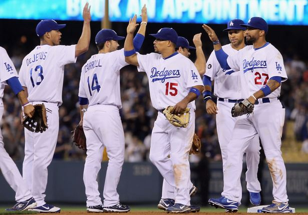 Dodgers Teammates 2011 congratulate each other after a win vs the Giants.JPG